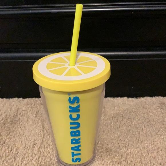 Starbucks Lemon Cold Cup w/Lid & Straw